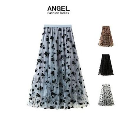 送料無料 チュールスカート プリーツスカート の新作ファッション 花柄スカート シンプル 先取りチュールスカート 韓国ファッション ロ