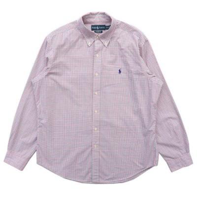 古着 ラルフローレン Ralph Lauren ボタンダウンシャツ 長袖 ワンポイント チェック ピンクベース サイズ表記:L