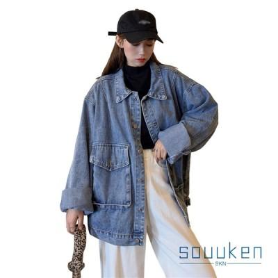 デニムジャケット レディース フリーサイズ 青 ゆったり 羽織る 長袖 春秋 ジージャント クロップド丈 ショート丈