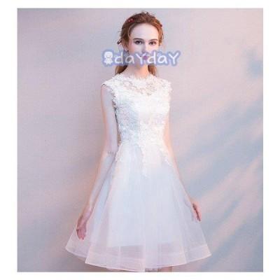ドレス    レディース 結婚式 発表会二次会 ピアノェミニン  無袖 膝丈     ナイトドレス プリンセス