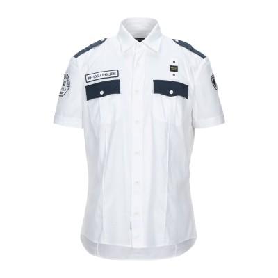 ブラウアー BLAUER シャツ ホワイト L リネン 100% シャツ