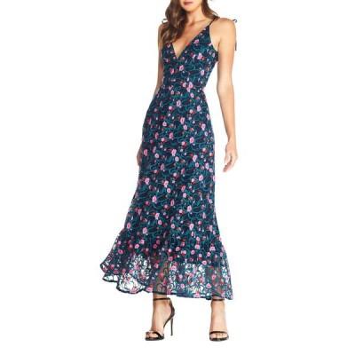ドレスザポプレーション ワンピース トップス レディース Sunny Embroidered Floral Tie Shoulder Gown Navy Multi
