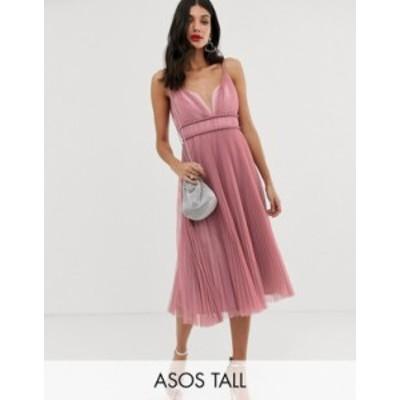 エイソス レディース ワンピース トップス ASOS DESIGN Tall pleated tulle midi dress with twist detail Rose