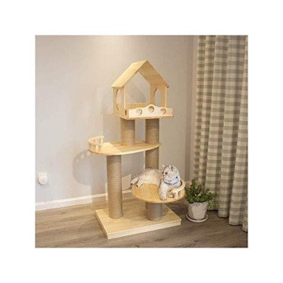 LLNN Cat Tree Modern Cat Tower for Indoor Cats, Cat Furniture Cat Condo Cat House Solid Wood Cat Tree Platform with Guardrail Playground Furniture for