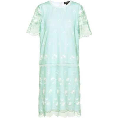 バーバリー Burberry レディース ワンピース Tシャツワンピース ワンピース・ドレス embroidered tulle t-shirt dress Aqua Green
