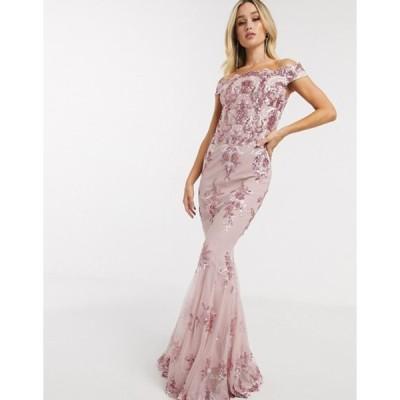ゴッドディバ レディース ワンピース トップス Goddiva off shoulder embellished sequin dress in rose pink