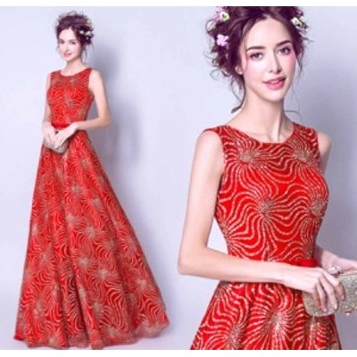 イブニングドレス ロングドレス マキシ丈 刺繍 結婚式・二次会に最高 お呼ばれドレス Aラインワンピース ノースリーブ レッド色