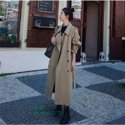 トレンチコート 秋 オーバーサイズ 長袖 春 綺麗 ロング カジュアル 体型カバー レディース 可愛い アウター