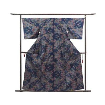 リサイクル 着物 紬 正絹 紺地 五マルキ袷 大島紬着物 レディース