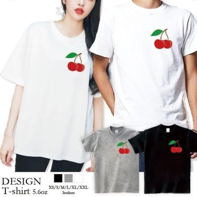 Tシャツ レディース 半袖 トップス ブランド ユニセックス メンズ プリントTシャツ チェリー さくらんぼ ワンポイント