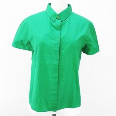 【中古】ジルサンダー JIL SANDER 半袖 シャツ ブラウス 34 グリーン 緑系 比翼 ボタン イタリア製 綿 コットン