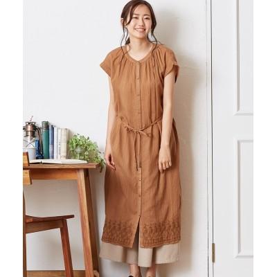 インド綿 裾刺繍 前開きドビーシャツワンピース (ワンピース)Dress