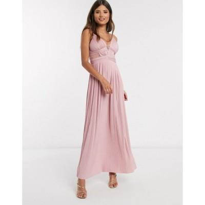 エイソス レディース ワンピース トップス ASOS DESIGN premium pleat cup detail lace insert cami maxi dress in soft pink