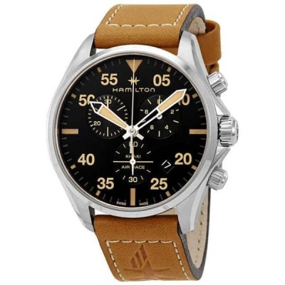 腕時計 ハミルトン メンズ Hamilton Khaki Pilot Chronograph Black Dial Men's Watch H76722531