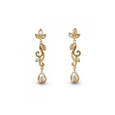 イヤリング ジェイストロングウォーター  in BOX JAY STRONGWATER Long Scrooll Earrings 14k Gold Finish Crystals