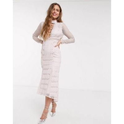 エイソス ASOS DESIGN レディース ワンピース レースアップ ミドル丈 long sleeve lace peplum midi dress with lace up detail in light pink ライトピンク