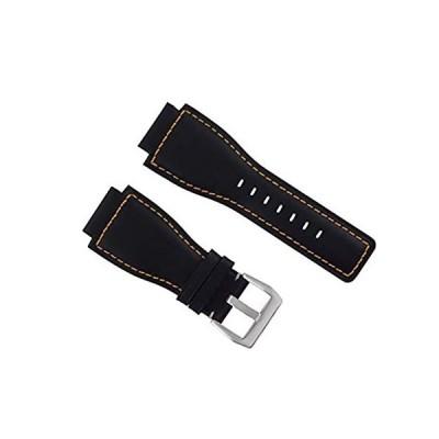 24mm Genuine Watch Strap Smoothのバンドのベルロスbr-01-br-03ブラックOS # 8b 24mm Black
