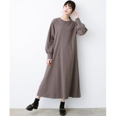 (haco!/ハコ)1枚で完璧シルエット!ぽんわり袖がかわいい楽ちんカットソーワンピース/レディース ブラウン