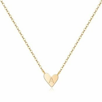 MONOOC Tiny Gold Initial Heart Necklace, 14K Gold Plated Dainty Small Letter A Heart Choker Necklace Gift for Women Kids Child A