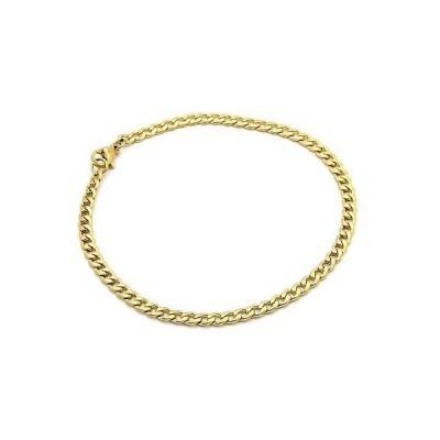 """チェーン ネックレス アメリカン ジュエリー ヒップホップ Mens 14k Gold Plated Stainless Steel 4mm Hip Hop 9"""" Inch Cuban Bracelet"""