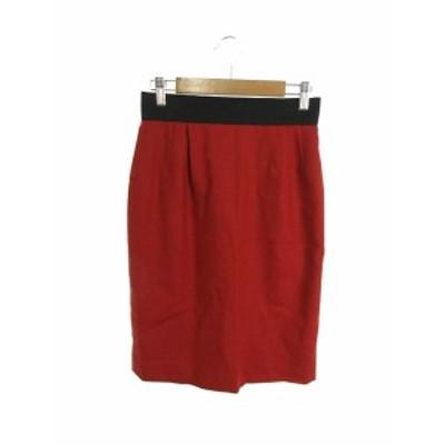 【中古】シップス SHIPS スカート 台形 ひざ丈 ジップファスナー ウール 赤 レッド /SI13 レディース