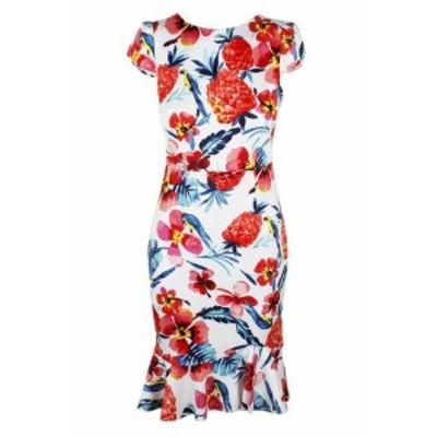Betsey Johnson ベッツィージョンソン ファッション ドレス Betsey johnson ivory muti handlebar ruffled-hem bodycon dress 0