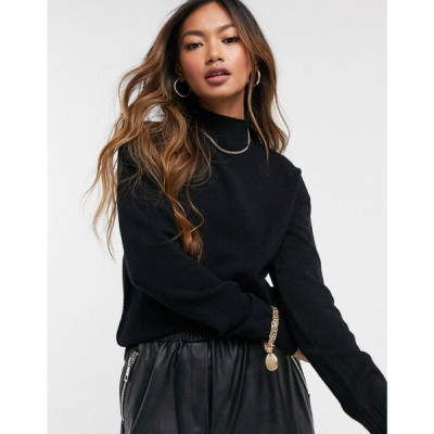 ヴィラ Vila レディース ニット・セーター トップス High Neck Knitted Jumper In Black ブラック