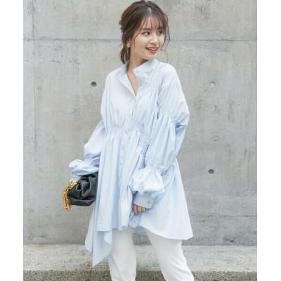 VICKY/ビッキー シャーリングアシメチュニックシャツ《手洗い可能》 ブルー M