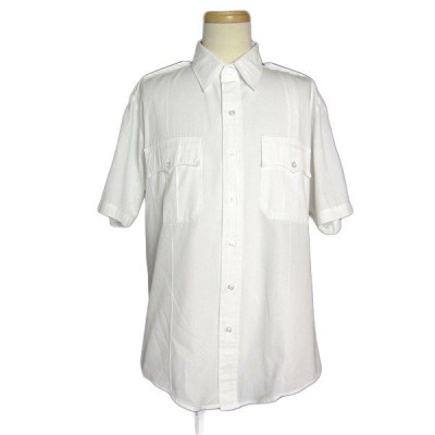 LIBERTY 白色 半袖 ワークシャツ USA古着 メンズL セキュリティワッペン付き