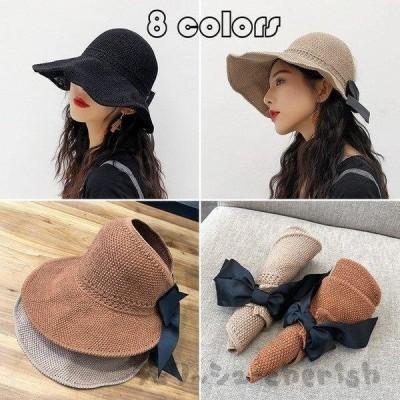 新作 サンバイザー レディース つば広帽子 UVカット ワイドサンバイザー ハット 日焼け防止 紫外線対策 日除け 遮光 お洒落