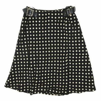 【中古】オールドイングランド OLD ENGLAND ベルト付き ラップ スカート フレア ひざ丈 ドット柄 サイズ34 黒×白 ◎9