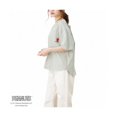(MAC HOUSE(women)/マックハウス レディース)PEANUTS ポケット付きワイドTシャツ 335152301/レディース グリーン