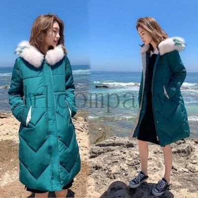 ダウンコートレディースロングコート2020新品韓流シルエット冬アウター厚手アウター防寒中綿コート