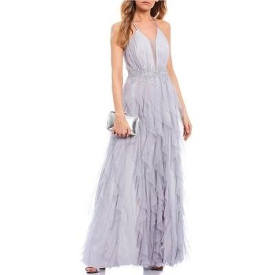 ティーズミー レディース ワンピース トップス Spaghetti Strap Plunged-Neck Lace-Up Back Embroidered-Waist Mesh Corkscrew Dress