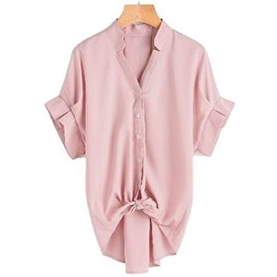 半袖 プリーツ 可愛い ブルー スキッパー シャツ ブラウス プルオーバー レディース(ピンク, XL)