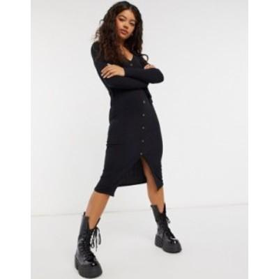 ニュールック レディース ワンピース トップス New Look soft ribbed tie belt dress in black Black