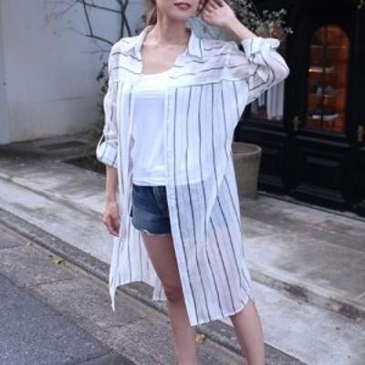 ストライプロングシャツ(ホワイト)夏 カーディガン カーデ リボン トップス
