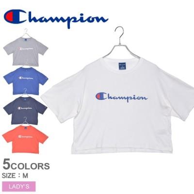 (30%以上OFF) (メール便可) チャンピオン 半袖Tシャツ レディース グロップドロゴTシャツ CHAMPION CW-RS304 ホワイト 白 ネイビー ウエア トップス 半袖