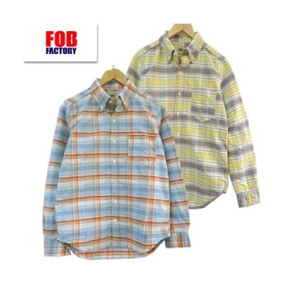 (SALE20%OFF) FOB FACTORY(FOBファクトリー) F3424 オックス ボタンダウン チェック シャツ