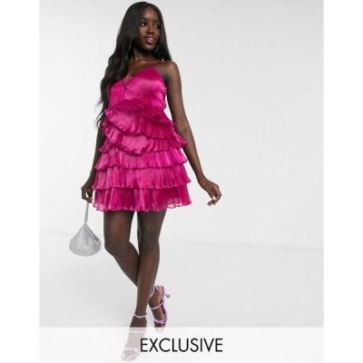 ドリーデリシャス ミニドレス レディース Dolly & Delicious exclusive pleated wrap mini plunge front prom dress in fuschia エイソス ASOS ピンク