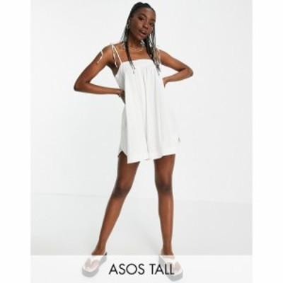 エイソス ASOS Tall レディース オールインワン ショート ワンピース・ドレス Tall Tie Shoulder Seersucker Swing Playsuit In White ホ