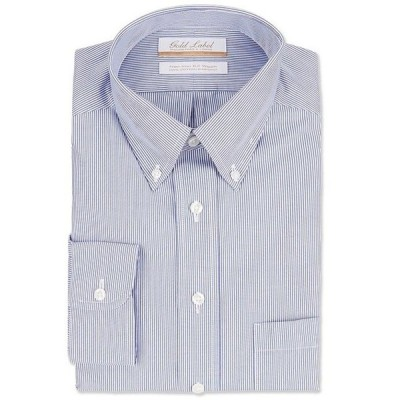 ラウンドトゥリーアンドヨーク メンズ シャツ トップス Gold Label Roundtree & Yorke Non-Iron Full Fit Button-Down Collar Striped Dress Shirt