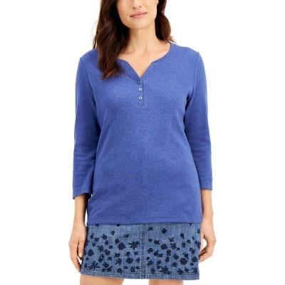 ケレンスコット カットソー トップス レディース Cotton Henley-Neck Top, Created for Macy's Galaxy Blue Heather