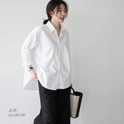 シャツ ブラウス レディース 春 韓国風 カジュアル 30代 お洒落 OL 着痩せ 長袖 スリット シンプル 通勤 トップス ゆったり 白 40代 旅 とろみシャツ