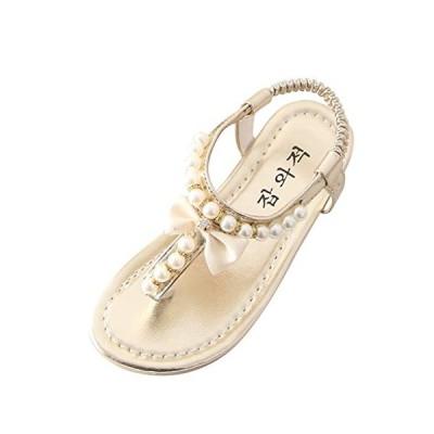 Girls Summer Flat Sandals, Pearl Bow T Strap Thong Flip Flop Shoes Bohemian Sandal Water Sandals (Toddler/Little Kid/Big Kid) Gold
