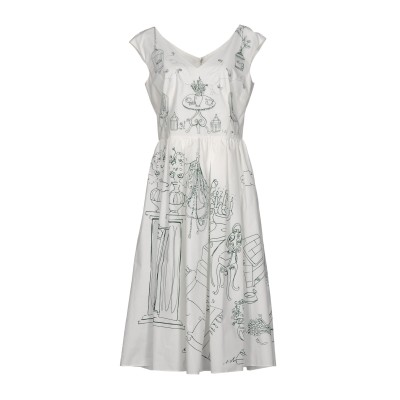 ドルチェ & ガッバーナ DOLCE & GABBANA 7分丈ワンピース・ドレス ホワイト 36 100% コットン 7分丈ワンピース・ドレス