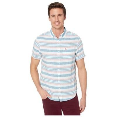 オリジナルペンギン メンズ シャツ トップス Linen Horizontal Stripe Short Sleeve Button-Down Shirt