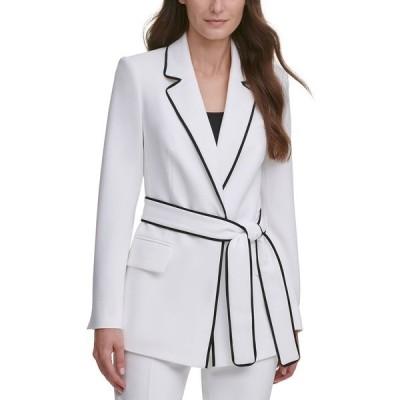 ダナ キャラン ニューヨーク ジャケット&ブルゾン アウター レディース Belted Contrast-Trim Blazer Linen White/black