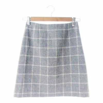 【中古】ナチュラルビューティーベーシック スカート タイト ミニ ウール 絹混 シルク混 チェック XS ライトグレー