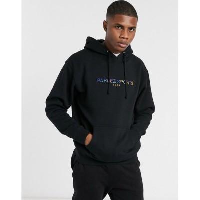 パールズ メンズ パーカー・スウェットシャツ アウター Parlez Nelson slouchy embroidered hoodie in black Black